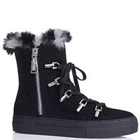 Черные ботинки Paciotti с меховым декором, фото