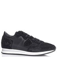 Черные кроссовки Philipp Model из кожи и замши, фото