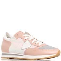 Розовые кроссовки Philippe Model с голограммной вставкой, фото