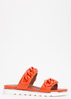 Оранжевые шлепанцы Evaluna с декором-цепью, фото