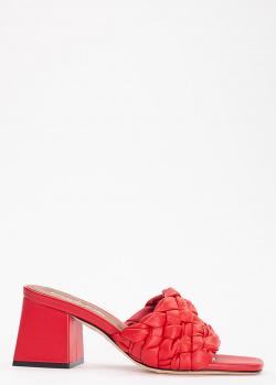 Красные мюли Evaluna из кожи с плетением, фото
