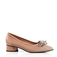 Бежевые туфли Donna Soft с декором-камнями, фото