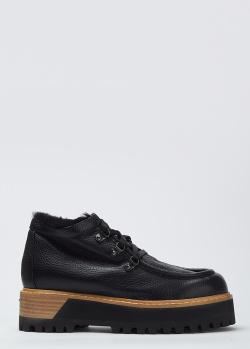 Черные кожаные ботинки Le Silla на толстой подошве, фото