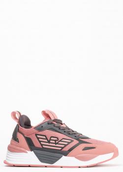 Розовые кроссовки Ea7 Emporio Armani с серыми вставками, фото