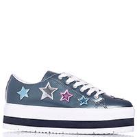 Кеды на платформе Jeans с декором-звездами, фото