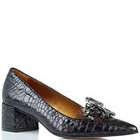 Туфли-лодочки Ras на устойчивом каблуке с силиконовой вставкой и серыми камнями, фото