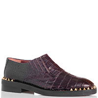 Туфли из тисненной под крокодила кожи Ras коричневого цвета, фото