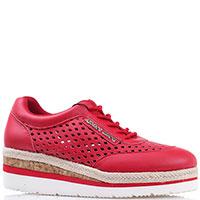 Кроссовки на платформе Armani Jeans из красной кожи с декоративной перфорацией, фото