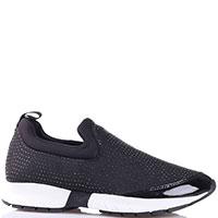Черные кроссовки без шнуровки Armani Jeans с декором-стразами, фото