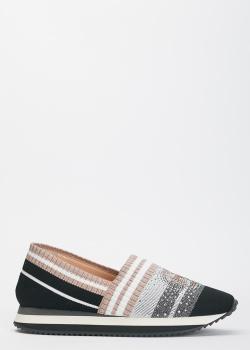 Текстильные кроссовки Baldinini со стразами, фото