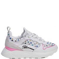 Белые кроссовки Blumarine с цветными камнями, фото