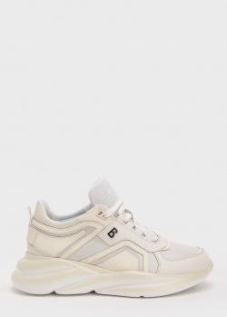 Бежевые кроссовки Bogner с брендовым декором, фото
