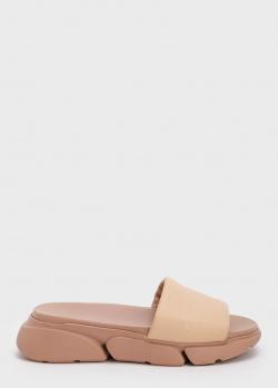 Бежевые шлепанцы Bogner на толстой подошве, фото