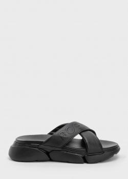 Черные шлепанцы Bogner из кожи с тиснением, фото