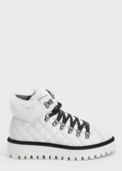 Белые ботинки Bogner с меховыми вставками, фото