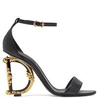 Босоножки Dolce&Gabbana с необычным каблуком черного цвета, фото