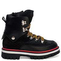 Утепленные черные ботинки Dsquared2 с оранжевыми шнурками, фото