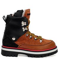 Коричневые ботинки Dsquared2 с замшевыми вставками, фото