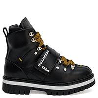Черные ботинки Dsquared2 с коричневыми шнурками, фото