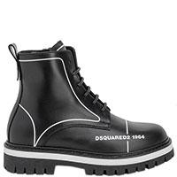 Черные ботинки Dsquared2 с брендовым принтом, фото