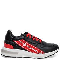 Черные кроссовки Dsquared2 с красной полосой, фото