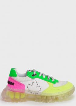 Разноцветные кроссовки Dsquared2 на прозрачной подошве, фото