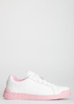Белые кеды Versace Jeans Couture с розовой подошвой, фото