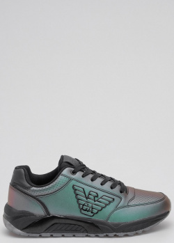 Кроссовки Ea7 Emporio Armani с металлическим блеском, фото