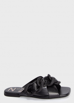 Черные шлепанцы N21 с декором-цепочкой, фото