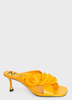 Желтые мюли N21 из гладкой кожи, фото