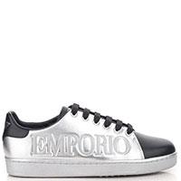 Серебристые кеды Emporio Armani с брендовым тиснением, фото