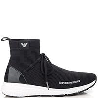 Кроссовки-чулки Emporio Armani черного цвета на белой подошве, фото