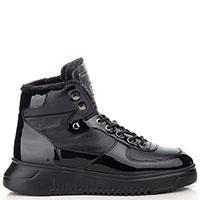 Зимние ботинки Emporio Armani с вставками из лаковой кожи, фото