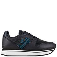 Черные кроссовки Emporio Armani с вышивкой-орлом, фото