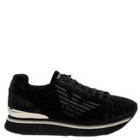 Черные кроссовки Emporio Armaniс золотистой пяткой, фото