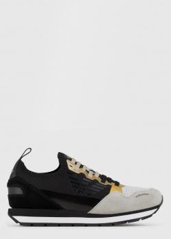 Кроссовки Emporio Armani с золотистыми вставками, фото