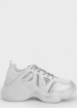 Белые кроссовки Emporio Armani на массивной подошве, фото