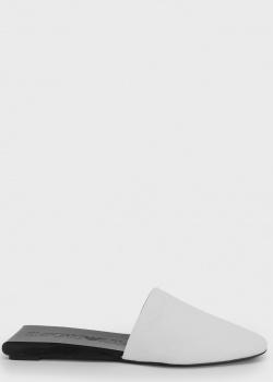 Белые мюли Emporio Armani на черной подошве, фото