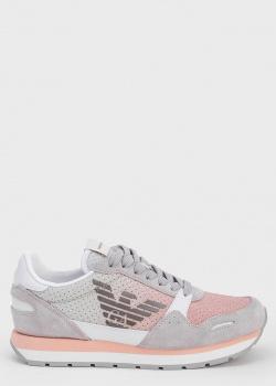 Серые кроссовки Emporio Armani с розовыми вставками, фото