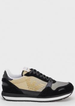 Черно-золотые кроссовки Emporio Armani с перфорацией, фото