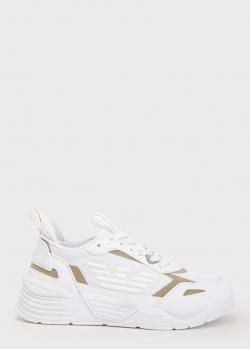 Белые кроссовки Emporio Armani на толстой подошве, фото