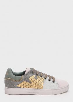 Кеды на шнуровке Emporio Armani с глиттерными блестками, фото