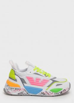 Яркие кроссовки Emporio Armani с принтом на подошве, фото