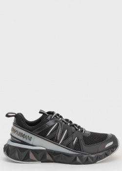 Черные кроссовки Emporio Armani с серой полосой, фото