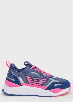 Синие кроссовки Emporio Armani с розовым лого, фото