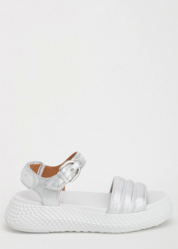 Сандалии Emporio Armani серебристого цвета, фото