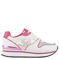 Белые кроссовки Emporio Armani с розовыми вставками, фото