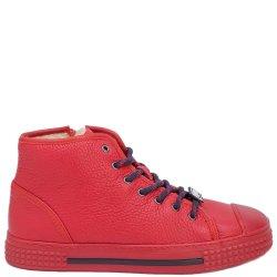 Красные хайтопы Emporio Armani с брендовый декором, фото