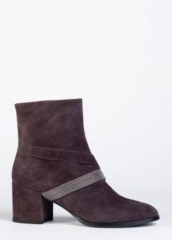 Ботинки Fabiana Filippi из бордовой замши, фото