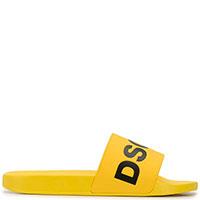 Желтые сланцы Dsquared2 с брендовой надписью, фото